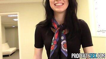 PropertySex - Pulchritudinous brunette real estate agent home office sex video
