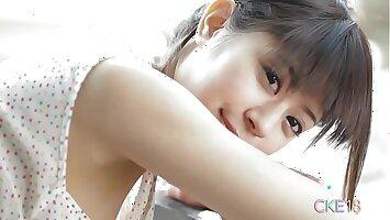 Sweet Japanese teen cameltoe touching and teasing minus